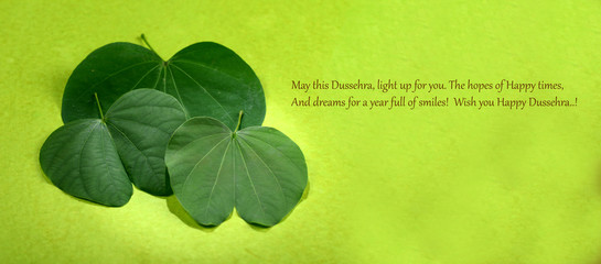 Search photos vijaya indian festival dussehra showing golden leaf on green background greeting card m4hsunfo