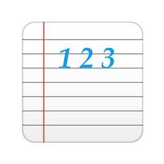 Icono aplicacion hoja cuaderno 123 azul