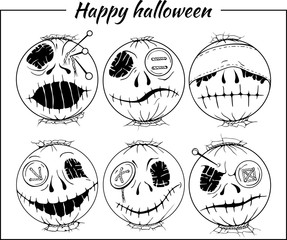 set of black and white halloween-style smiles