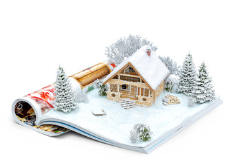 Cute log house on a page of opened magazine in winter. Unusual winter illustration