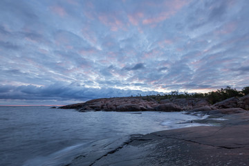 Early cloudy morning on the sea rocky coast, Finland, Åland