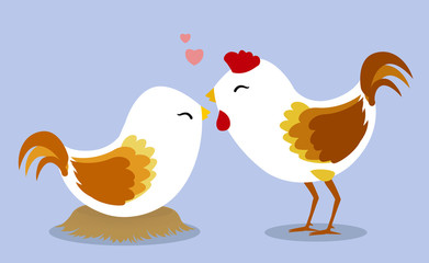 Chickens in love on light blue background2