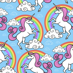 Cartoon vector seamless pattern. Unicorn with rainbow and clouds. For designed print.