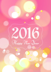 Happy New Year 2016 on Bokeh Light Pink Background
