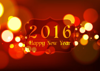 Happy New Year 2016 on Bokeh Light Red Background