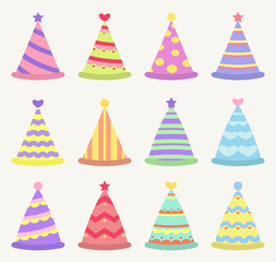 party hat set, a different textures.