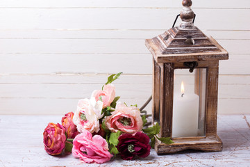 Backgroud with flowers  in pink  colors and candle