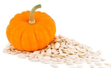 Pumpkin with pumpkins seeds, pumpkin on a white background with seeds