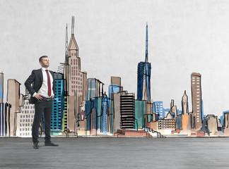 Confident handsome businessman is going to tackle with problems. Drawn New York on the background. A concept of financial consultancy.