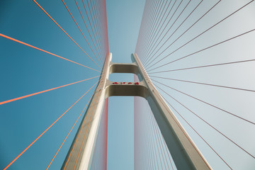 Foto auf AluDibond Bridges cable stayed bridge closeup