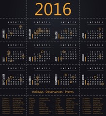 2016 calendar template for business and private use - holidays posted inside