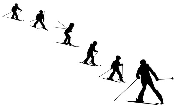 ski school collection of  skiers silhouettes