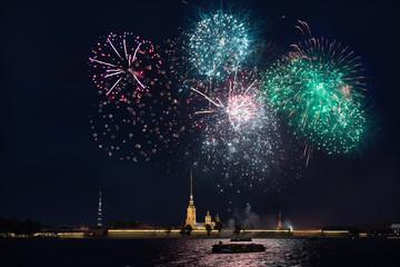 Salute in St. Petersburg in honor of the builder