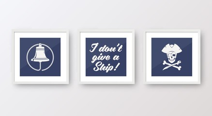 Realistic Vector Navy or Marine Picture Frames Set, Mounted on