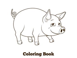 Coloring book pig cartoon educational illustration