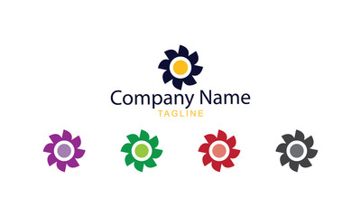 Sun Flower Logo Vector