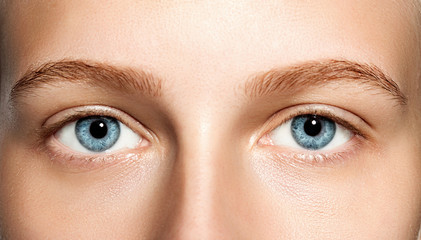 Closeup of blue eyes woman without makeup