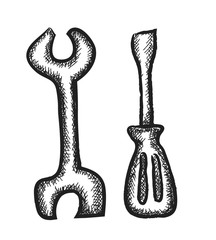doodle wrench and screwdriver
