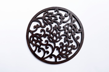 Wood carving on white background