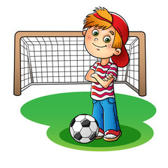 Boy in a red cap and striped t-shirt  with a soccer ball and foo