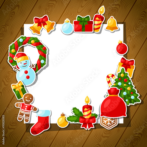 merry christmas and happy new year sticker template for fotolia com