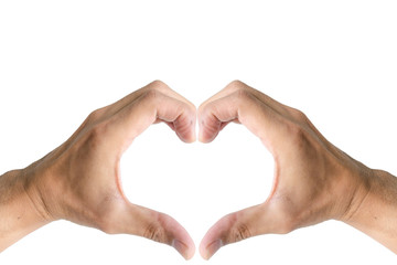 Heart shape with the hand symbol.