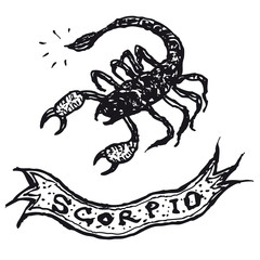 Hand drawn Scorpio horoscope sign with banner