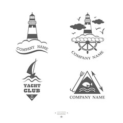 Set of yacht club logos.