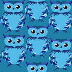 cute blue owl seamless pattern