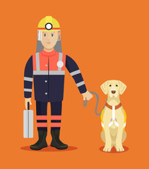Rescuer with dog. Vector flat illustration