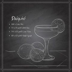 Cocktail daiquiri on black board