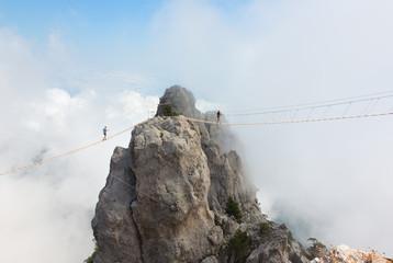 Rope bridge over the precipice on Mount Ai-Petri