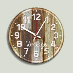 Clock on old wood background. Vector illustration.