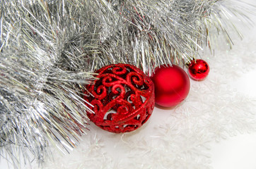 Christmas balls and garland isolated