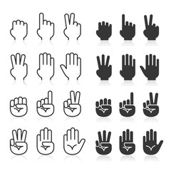 Hand gestures line icons set. Vector illustrations.