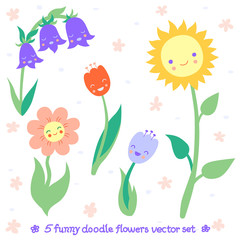Funny doodle flowers vector set