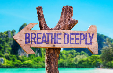 Breathe Deeply arrow with beach background