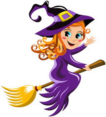 Young witch flying and waving hand on a broom isolated
