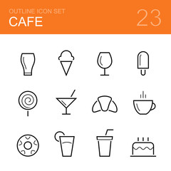 Cafe vector outline icon set - glass, ice cream, popsicle, wineglass, lollipop, cocktail, croissant, cup of coffee, donut, juice, fizzy water and cake