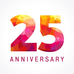 25 anniversary red colored logo. The bright faceted logotype of 25th birthday made in the shades of red.