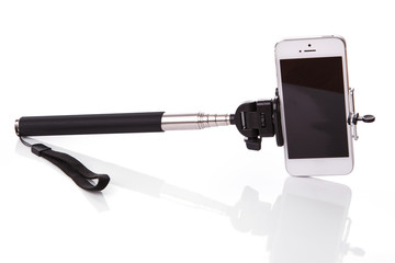 Smart phone on a selfie stick