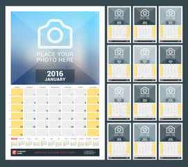 Wall Monthly Calendar for 2016 Year. Vector Design Print Template with Place for Photo and Year Calendar. Week Starts Sunday. Set of 12 Months