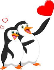 Penguin couple in love with heart