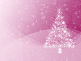 Vibrant pink winter holidays greeting card background, with white Christmas tree and snow. Copyspace.