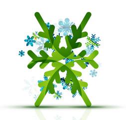 Christmas decorated modern snowflake icon