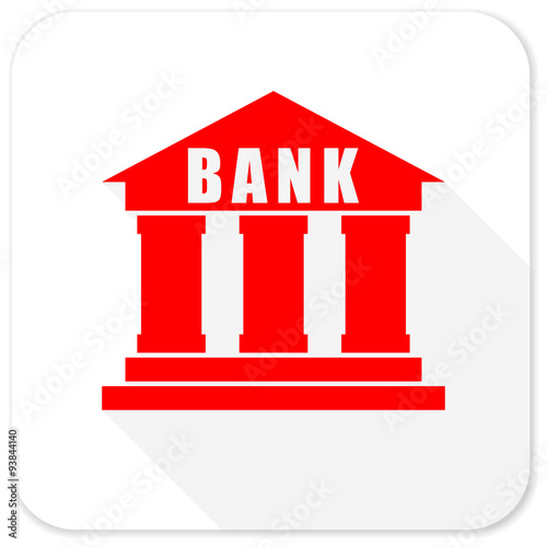 bank red flat icon with long shadow on white background stock photo rh fotolia com Bank Icon Post Office Clip Art