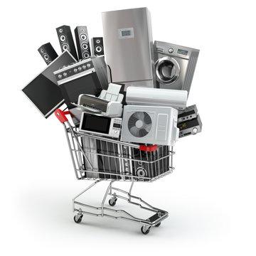 Home appliances in the shopping cart. E-commerce or online shopp
