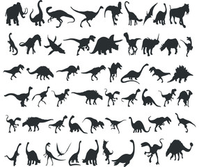 Silhouettes of dinosaurs. Set