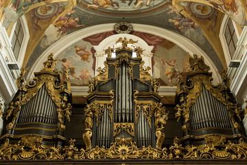organ pipes in a church in Ljubljana, Slovenia