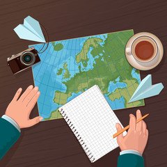 illustration of travel planning. Top view
